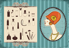 Vintage woman and cosmetics Stock Photos