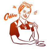 Vintage Woman holding cup of Coffee. Hand drawn Vector Artwork with litte Lettering Headline. Usabe as part of Logo design für Cafe, Restaurant or any kind of Stock Photos