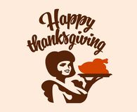 A vintage woman is holding a roast turkey on a platter. royalty free illustration