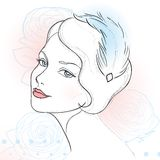 Vintage woman portrait. Vintage woman with beautiful hairdo vector illustration