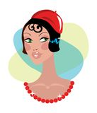 Vintage woman portrait cartoon. Vintage woman portrait with red hat Stock Images