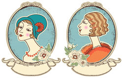 Vintage woman portraits in frame.Vector illustration Stock Photo