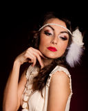 Vintage woman in retro dress Royalty Free Stock Images