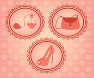 Vintage woman's bag, perfume and shoes. Stock Image