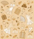 vintage woman's elements. Royalty Free Stock Photo