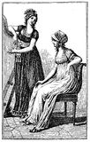 Vintage women fashion illustrated, Berlin 1803 Royalty Free Stock Images
