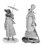 Vintage women fashion illustrated, early 1800, black and white, Royalty Free Stock Photos