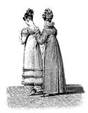 Vintage women fashion illustrated, early 1800 Stock Images