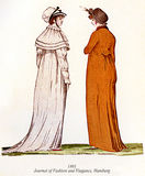 Vintage women fashion illustrated, 1801 Stock Image
