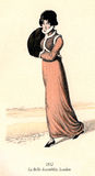 Vintage women fashion illustrated, 1813, lady wearing spencer an Stock Photos