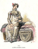 Vintage women fashion illustrated, 1814, mother and child Royalty Free Stock Photography