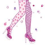 Vintage women legs wearing grunge shoe Royalty Free Stock Photos