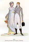 Vintage women and men fashion illustrated, 1802 Stock Photography