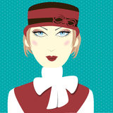 Vintage women with red hat Royalty Free Stock Photography
