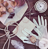 Vintage women's jewelry and gloves. Stock Image