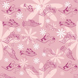 Vintage women`s shoes on a pink background Royalty Free Stock Image
