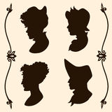 Vintage women silhouettes Stock Photography
