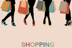 Vintage women silhouettes legs with high heels and shopping bags Royalty Free Stock Images