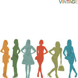 Vintage women silhouettes. On white background Vector Illustration