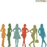 Vintage women silhouettes Stock Photos