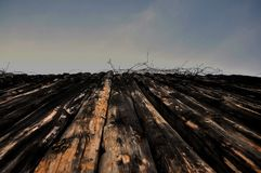 Vintage Wood Background. Dark wood and sky royalty free stock photos