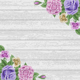 Vintage wood background with roses Stock Photos