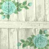 Vintage wood background with roses Royalty Free Stock Image