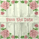 Vintage wood background with roses Royalty Free Stock Images