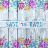 Vintage wood background with roses Stock Images