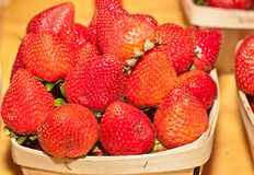 Wood basket of strawberries. Vintage wood basket of of organic, ripe, local strawberries, just pieced for sale at a tropical farmers market Royalty Free Stock Photography