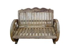 Vintage wood bench with clipping path.  stock image