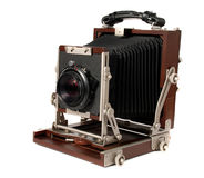 Vintage wood camera Stock Images