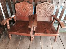 Vintage Wood Carved Chairs Royalty Free Stock Photo