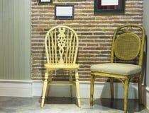 Vintage wood chair in vintage room Royalty Free Stock Images