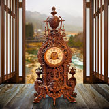 Vintage Wood Clock Royalty Free Stock Photography