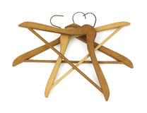 Vintage wood coat hangers Stock Photo