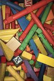 Vintage Wood Colored Toy Building Blocks Royalty Free Stock Photo