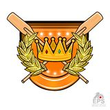 Vintage wood crossed oars for rowing with crown in the middle of golden laurel wreath on the shield on white. Sport logo for any t. Vintage wood crossed oars for royalty free illustration