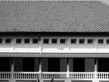 Vintage wood door & balcony of classic building. Vintage wood door & balcony of classic retro building. black & white Royalty Free Stock Photos
