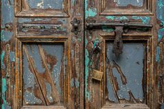 Vintage wood door with padlock , close up Stock Photo