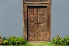 Vintage wood doors and wall Stock Images