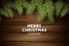 Vintage Wood and Fir Branches Christmas Background royalty free illustration
