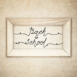 Vintage wood frame  with handwritten text Back To School. Retro background Stock Photos