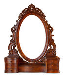 Vintage wood frame mirror. On white background Stock Photos
