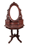 Vintage wood frame mirror. On white background Stock Photo