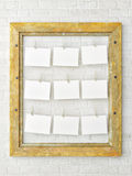 Vintage wood frame on white brick wall, 3d render Stock Image