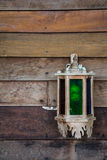 Vintage wood lamp on wood wall Stock Photography
