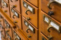Vintage wood library. Card catalog stock images