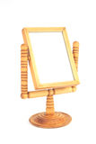 Vintage wood mirror isolated on white background Stock Photography