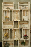 Vintage wood shelf with books cage dry flowers. Vintage wood shelf with books cage stock image